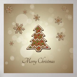 Árbol de navidad del pan de jengibre - poster