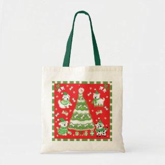 Árbol de navidad del perrito bolsa tela barata