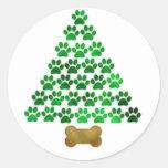 Árbol de navidad del perro/del gato etiquetas redondas