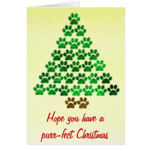 Árbol de navidad del perro/del gato tarjeta de felicitación