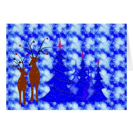 Árbol de navidad del reno tarjeta de felicitación