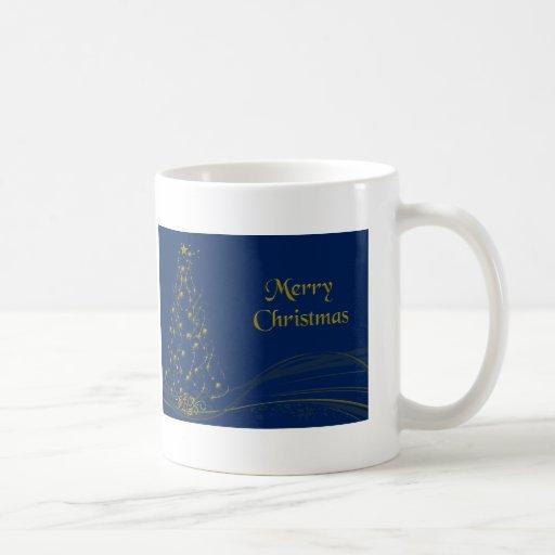 Árbol de navidad del resplandor de oro taza