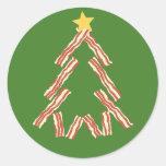 Árbol de navidad del tocino etiquetas redondas