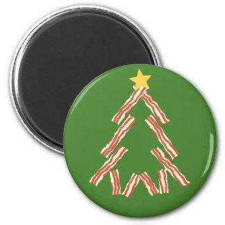Árbol de navidad del tocino imán redondo 5 cm
