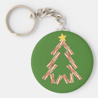 Árbol de navidad del tocino llavero redondo tipo pin