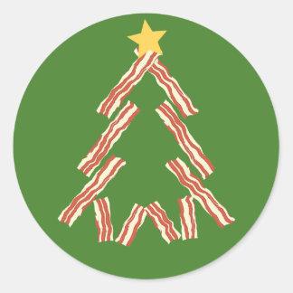 Árbol de navidad del tocino pegatina redonda