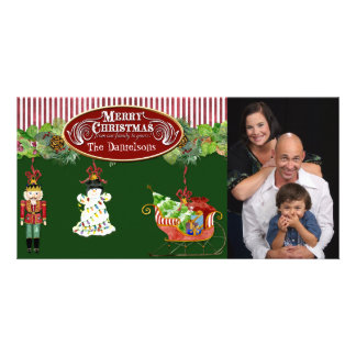 Árbol de navidad del trineo de Santa del cascanuec Tarjetas Fotograficas Personalizadas