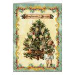 Árbol de navidad del vintage, acebo y tarjeta del
