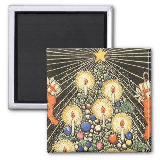 Árbol de navidad del vintage con las velas