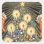 Árbol de navidad del vintage con las velas calcomania cuadrada personalizada