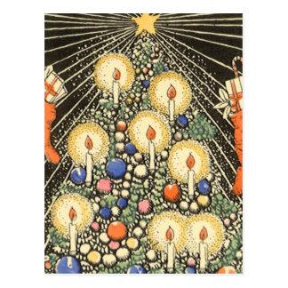 Árbol de navidad del vintage con las velas postales
