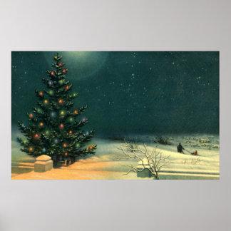Árbol de navidad del vintage en la noche con las póster