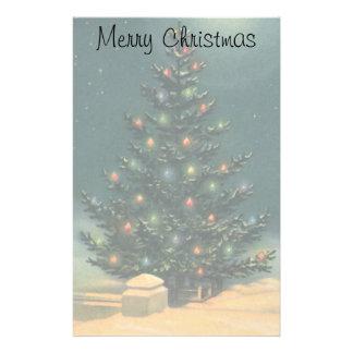 Árbol de navidad del vintage en la noche, invierno  papeleria