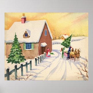 Árbol de navidad del vintage en un camino del invi