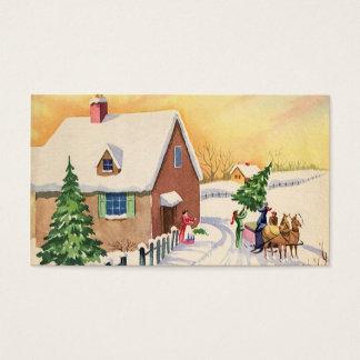 Árbol de navidad del vintage en un camino del tarjeta de negocios
