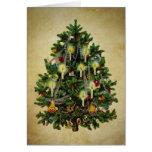 árbol de navidad del vintage felicitaciones