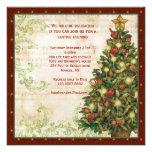 Árbol de navidad del vintage, invitación del fiest