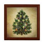 árbol de navidad del vintage joyero cuadrado grande