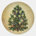 árbol de navidad del vintage pegatinas redondas