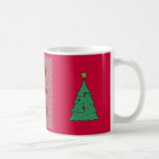 Árbol de navidad, diseño floral tradicional rojo taza clásica
