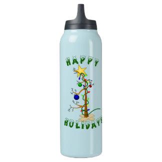 Árbol de navidad divertido botella isotérmica de agua