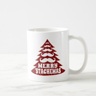 Árbol de navidad divertido del bigote taza clásica
