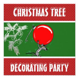Árbol de navidad divertido del ratón que adorna al invitación personalizada