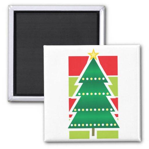Árbol de navidad doblado imán cuadrado