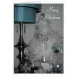 Árbol de navidad elegante de la pluma blanca felicitación