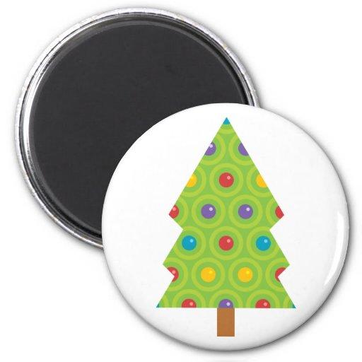 Árbol de navidad elegante imán redondo 5 cm