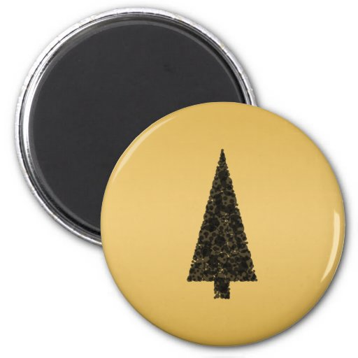 Árbol de navidad elegante. Negro y oro Imán Redondo 5 Cm