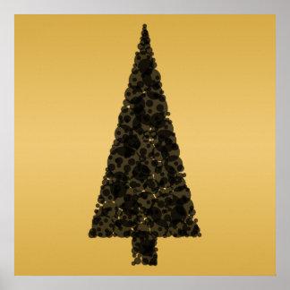 Árbol de navidad elegante. Negro y oro Poster
