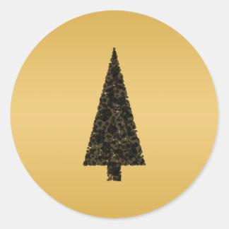 Árbol de navidad elegante. Negro y oro Pegatina Redonda