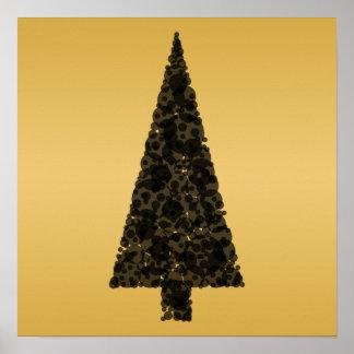 Árbol de navidad elegante. Negro y oro Póster