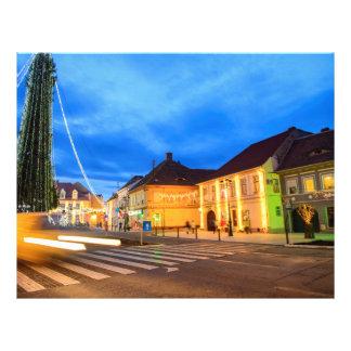 Árbol de navidad en Cisnadie, Rumania Flyer A Todo Color