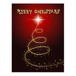 Árbol de navidad en fondo rojo que brilla tarjetas postales