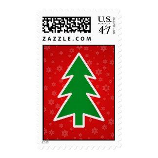 Árbol de navidad en fondo rojo sello
