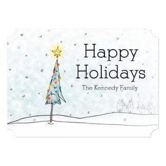 """Árbol de navidad en nevadas invitación 5"""" x 7"""""""
