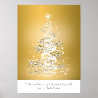 Árbol de navidad en oro posters