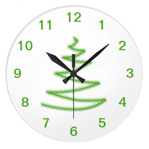 Árbol de navidad en verde, simple y elegante reloj