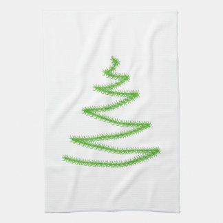 Árbol de navidad en verde, simple y elegante toalla de cocina