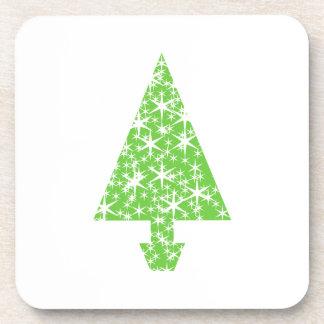 Árbol de navidad en verde y blanco posavaso