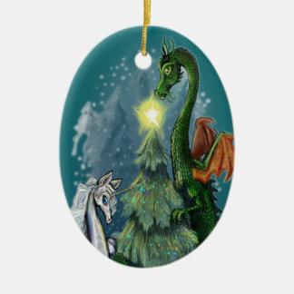Árbol de navidad encantado adorno ovalado de cerámica
