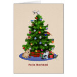 Árbol de navidad español, feliz, pájaros, gato, pe tarjetas
