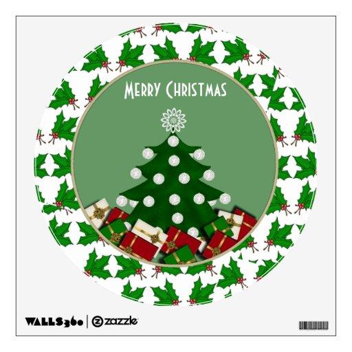 Árbol de navidad: Etiqueta de la pared de las Feli