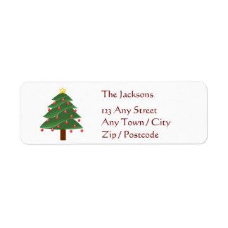 Árbol de navidad etiqueta de remite