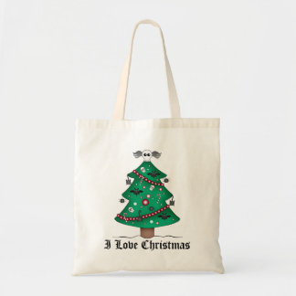 Árbol de navidad gótico lindo bolsa lienzo