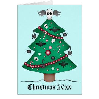 Árbol de navidad gótico lindo tarjeta de felicitación