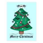 Árbol de navidad gótico lindo tarjeta postal