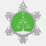 Árbol de navidad hecho de copos de nieve en Backgr Adornos